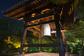 Colourful image of temple bell at night, Kyoto, Japan
