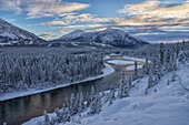 Winter late afternoon light over the Takini River and the mountains in the Southern Yukon, Yukon, Canada