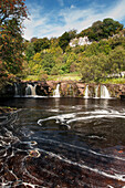 Wainwath Falls on the River Swale near Keld, in the Yorkshire Dales National Park, in late summer, Yorkshire, England