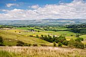 Looking over the Upper Eden valley from Wild Boar Fell, towards the Pennine Fells, near Kirkby Stephen, Cumbria, England