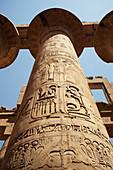 Carved column, Great hypostyle hall, Karnak Temple, Luxor, Egypt