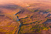 Aerial view of a river and the Kigluaik Mountains, North of Nome, Seward Peninsula, Alaska, United States of America