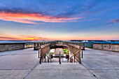 Viewing platform overlooking the Mississippi River at Pikes Peak State Park, near McGregor, Iowa, United States of America
