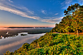 Scenic view of the Mississippi River at sunrise from the viewing platform at Pikes Peak State Park, near McGregor, Iowa, United States of America