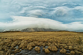 High winds create lenticular clouds in the upper atmosphere over the Eastern Fjords in Southeastern Iceland, Iceland