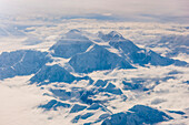 Aerial view of snowcovered Mt. McKinley's northwest buttress, Interior Alaska, Winter, USA