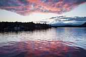 Scenic view of Inside Passage near Ketchikan at sunset, Southeast Alaska, summer
