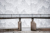 Water cascading down a reservoir overflow outlet, Wet Sleddale, Cumbria, England
