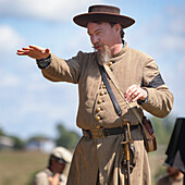 American Civil War confederate re-enactor speaking to a group of people, Munfordville, Kentucky, United States of America