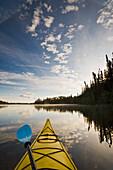 Kayaking on Little Deer Lake in Lac La Ronge Provincial Park, Saskatchewan, Canada