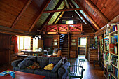 Interior of round log cabin, Lac-des-Neiges, Quebec, Canada
