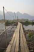Bridge In Floating Village, Laos