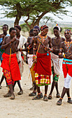 'Samburu men singing and dancing, Samburu County; Kenya'