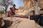 Dancers wearing Kananga masks perform at the Dama celebration in Tireli, Mali