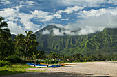 Outrigger canoes on Hanalei Beach, Bay and Valley, Hanalei, Kauai, Hawaii, United States of America