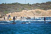 Surf fishing, Montauk, New York, United States of America
