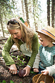 Mother and son foraging for mushrooms in forest