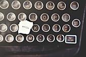Close up of smile note on typewriter