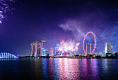 Fireworks over Singapore city skyline, Singapore, Singapore