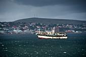 Korean squid fishing boat in Stanley harbor, Stanley, Falkland Islands, British Overseas Territory