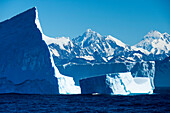 Majestic icebergs and snow-covered mountains, near Gold Harbour, South Georgia Island, Antarctica
