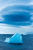 Blauer Eisberg und blaue Wolke, Paulet Island, Antarktische Halbinsel, Antarktis