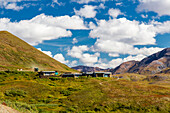 Scenic view of Eielson Visitor Center and green tundra in Denali National Park, Interior Alaska, Summer, USA.