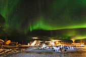 Northern Lights dance overhead resting teams at the Huslia checkpoint during Iditarod 2015