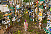 Young girl explores the Signpost Forest, Watson Lake, Yukon Territory, Canada, summer