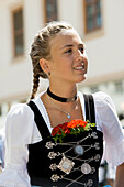 Young girl in traditional clothes, traditional prozession, Garmisch-Partenkirchen, Upper Bavaria, Bavaria, Germany