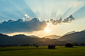 Sunset near Kruen, near Mittenwald, Upper Bavaria, Bavaria, Germany
