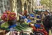 Vegetable stall at Market Place Richelme, Aix en Provence, Bouche du Rhone, Cote d'Azur, France