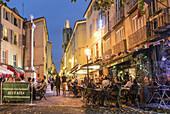 Street cafes on Place des Augustins in Vieil Aix the old quarter of Aix en Provence, Bouches du Rhone, Provence, Cote d'Azur, France