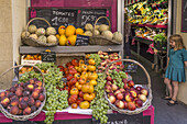 Fruits and Tomatoes in front of a shop, Aix en Provence, Provence-Alpes-Cote d'Azur, France