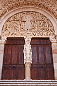 The tympanum on the front of Autun cathedral in Burgundy, France, Europe
