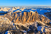 Aerial view of the Odle at sunset, Gardena Valley, Dolomites, Trentino-Alto Adige, Italy, Europe