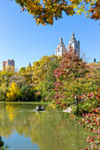 couple in a rowing boat on The Lake, autumn with colourful trees, skyline, Central Park, Manhattan, New York City, USA, America