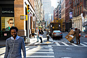 Street scene in Soho, UPS delivery, Manhattan, New York City, USA, America
