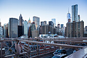 On Brooklyn Bridge, view of One Word Trade Center, downtown, Manhattan, New York City, USA, America