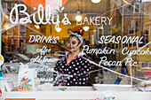 woman wearing a Halloween costume in Billy's Bakery, gallery area, Lower East Side, Chelsea, downtown, Manhattan, New York City, USA, America