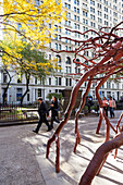 Tree sculpture in front of the Trinity Church, downtown Manhattan, New York City, USA, America