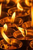 Butter lamps at the Bodnath Stupa, Boudha, Boudnath, Bauddhanath, Kathmandu, Nepal, Himalaya, Asia