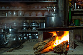 Typical tibetan kitchen fire, woodfire, clay stove at the Annapurna Circuit Trek, Nepal, Himalaya, Asia