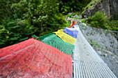 Prayer flags at a suspension bridge on the Nar Phu Trek, Nepal, Himalaya, Asia
