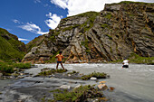 Rivercrossing of the Labse Khola on the Trek from Nar to Mustang, Nepal, Asia
