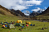 High Camp, Base Camp on 4900 m next to the stream Labse Khola on the way from Nar over Teri Tal to Mustang with views of Khumjungar Himal left (6759 m) and Yuri Peak on the right (6130 m), Nepal, Himalaya, Asia