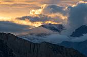 Sunset on the way from Nar over Teri Tal to Mustang, Nepal, Himalaya, Asia