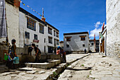 Main square in front of the King's Palace in Lo Manthang (3840 m), former capital of the Kingdom of Mustang and residence of the King Raja Jigme Dorje Palbar Bista at the Kali Gandaki valley, the deepest valley in the world, fertile fields are only possib