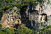 Lycian rock tombs dating from the fourth to second centuries BC, Kaunos, Dalyan, Mugla Province, Anatolia, Turkey, Asia Minor, Eurasia