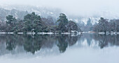A winter scene from Rydal Water in the Lake District National Park, Cumbria, England, United Kingdom, Europe